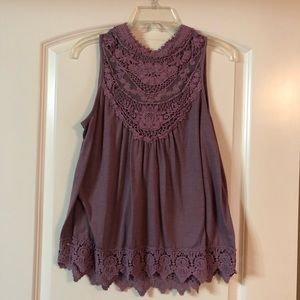 High Neck Purple Lace Tank Top